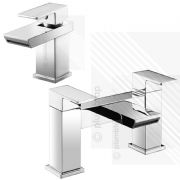 Scudo Escobar Modern Bath Filler Basin Tap Mixer Pack Deck Mounted Brass Chrome